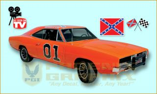 1968 1969 1970 Dodge Charger General Lee Complete Decals Stripes Kit