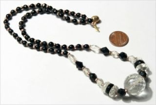 Vtg Czech Deco Black Crystal Cut Glass Beads Necklace