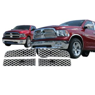 2009 2013 Dodge RAM 1500 Chrome Grille Insert Overlay 4pcs