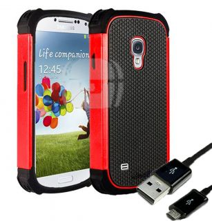Samsung Galaxy S4 SIV Red Armor Shock Proof Back Cover Case Charger Cable