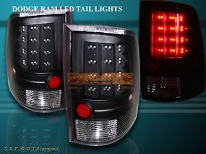 2010 2012 Dodge RAM 1500 2500 3500 2009 RAM 1500 L E D Tail Lights JDM Black