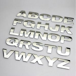 Auto Logo Metal Car Letter Sticker Metal Letter Car Label Decal Nameplate Silver