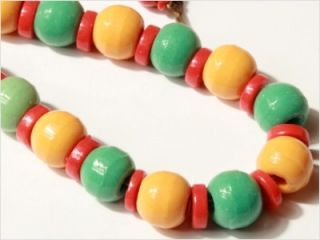 Czech Vintage Prosser Coral Trade Glass Beads Necklace