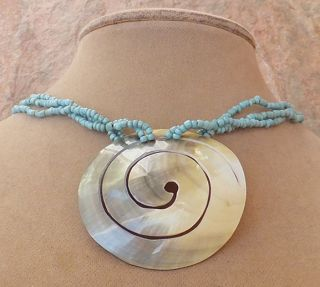 Turquoise Blue Beads Genuine Mother O Pearl Pendant Necklace Bali Button Jewelry