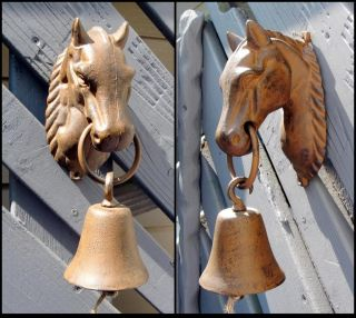 Large Antiqued Cast Iron Horse Head Wall Mount Dinner Bell