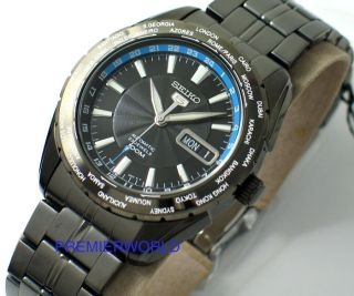 Seiko Automatic World Time Black Gun Metal Watch SNZG57