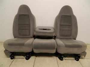 Ford F 250 F 350 F 450 Superduty Truck Front Grey Seats Center Console Jump Seat