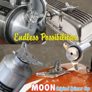 Moon Spinner Gas Oil Cap w Bung Chopper Oil Bag Tank Rat Hot Rod VW Motorcyle