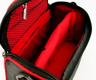 TGC Black Red Shoulder Camera Case for Aiptek SLR Bridge Cameras Camcorders