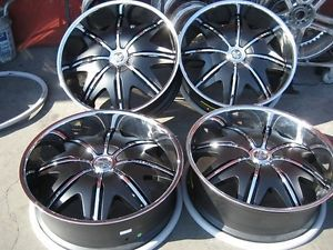 "26"" Dub Doggy Style Black Wheels Rims and Tires Package Gianna Lexani asanti MHT"