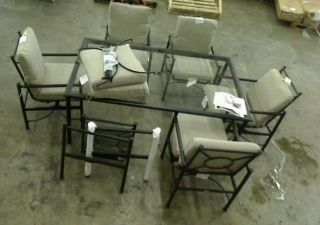 Hampton Bay Barnsley 7 Piece Glass Top Patio Dining Set