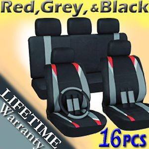 16pc Set Red Gray Black Pickup Truck Seat Covers Free Wheel Belt Pads Head Rests