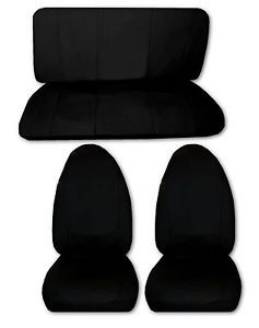Solid Black Lightweight Synthetic Leather High Back Car Truck Seat Covers 1