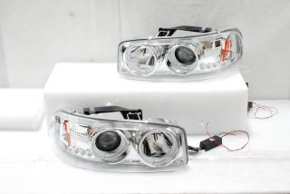 99 06 GMC Sierra Yukon Denali Dual CCFL Halo Projector LED Chrome Head Lights
