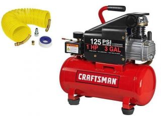Portable Air Compressor Tires Tools Use Nail Gun Brad Craftsman 3 Gallon Hose