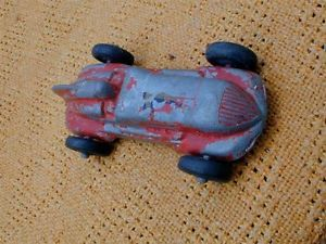 Vintage Toy Red Metal Race Car Racer with Rubber Tires