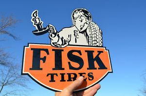 Old Style Fisk Tires Auto Car Truck Die Cut Gas Oil Service Station Sign