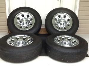 "2000 2013 Chevy Silverado Chrome Clad 17"" Steel Wheels Rims Tires"