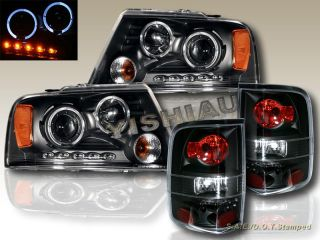 2004 2008 Ford F 150 Halo Projector Headlights LED Tail Lights Black Housing