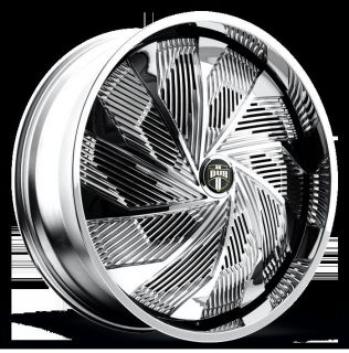 "24"" Dub Spin Shudda S724 Wheel Set 24x9 0 Chrome Rims for 5 6 Lug Vehicle 24"