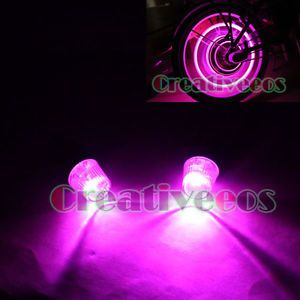 2X Car Motorcycle Wheel Tyre Tire Valve Caps Covers LED Lights Bulb Lamp Pink