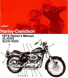 1974 Harley Davidson XL1000 XLCH1000 Sportster Owners Manual New Sportster