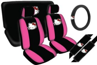 Hello Kitty Face Car Seat Covers Black Pink 11pc Front Bench Steering Wheel CS1