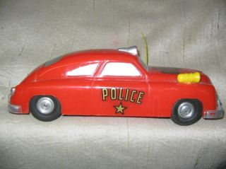 Vintage Saunders Toy Friction Hard Plastic Police Squad Car Repair Rubber Tires
