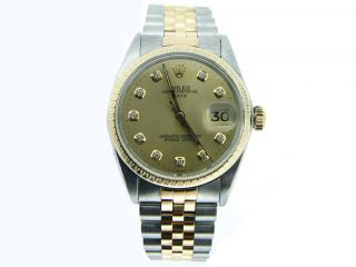 Mens Rolex Date 2Tone Yellow Gold SS Watch w Gold Diamond Dial 1505