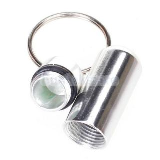 "4X Waterproof 1"" Silver Pill Fob Case Box Holder Container Keychain Camping"