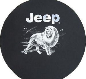 Sparecover® Brawny Series Jeep Logo 32 Lion on Heavy Black Denim Tire Cover