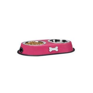 ProSelect Twin Dog Cat Pet Stainless Steel Diner Bowls Rubber Rims Pink 1 Pint