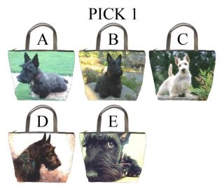 Scottish Terrier Dog Puppy Puppies A E Bucket Bag Handbag Purse Pick 1