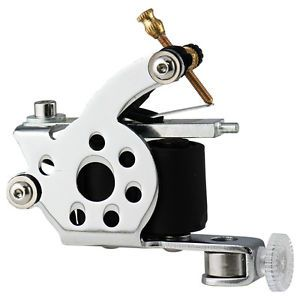 Basic Liner Shader Tattoo Machine Gun Supply Set 10 Wrap Coils Steel Frame