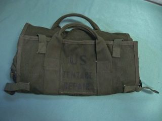 Vtg US Army Military Tentace Repair Kit Tent Maintenance Pack Bag WWII