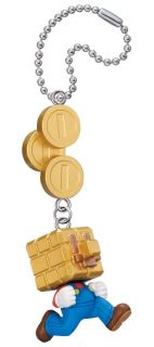 New Super Mario Bros 2 Nintendo Anime Macot Swing Keychain Gold Block Coin Mario