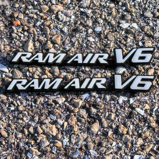 2 White Pontiac Grand Am RAM Air V6 Quarter Panel Hood Scoop Cowl Badge Emblem