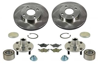 00 04 Focus 2 Front Brake Rotors Ceramic Pads 2 Hub Wheel Bearing Assemblys