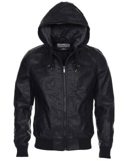 Twisted Soul Mens Stylish Long Sleeve Double Hooded Zip Up Leather Jacket Black