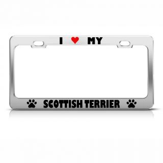 Scottish Terrier Paw Love Heart Pet Dog Metal License Plate Frame Tag Holder