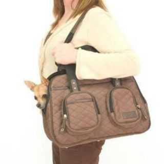 Travelon Brown Quilted Deluxe Dog Cat Pet Tote Carrier