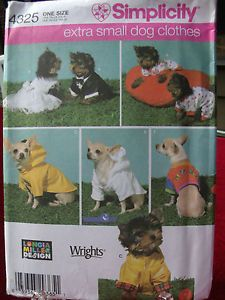 "Pet Craft Pattern Simplicity 4325 ""Extra Small Dog Clothes Costumes Chihuahua"