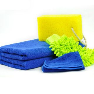 5pc Car Vehicle Washing Set Clean Kit Dry Towel Antifog Towel Cloth Sponge Glove