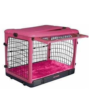 Pet Gear Deluxe Steel Dog Crate with Bolster Pad in Pink Color Small