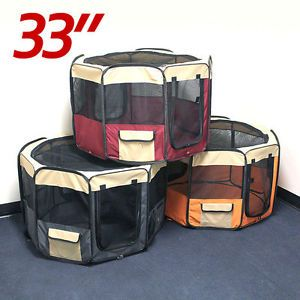 "Small 33"" Soft Pet Playpen Exercise Puppy Dog Cat Play Pen Kennel Folding Crate"
