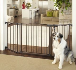 North States Extra Wide Bronze Auto Close Angle Mount Dog Pet Child Gate 4934