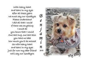 Personalized Pet Memorial Poem with Heavy Heart Your Dog Cat Photo