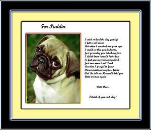 Pet Memorial Pug Personalized w Dog's Name Until We Meet Again Poem Unique Gift