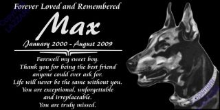 "Personalized Doberman Pinscher Pet Dobe Dog Memorial 12x6"" Granite Grave Marker"