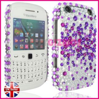Purple Silver Diamond Bling Crystal Gem Case Cover for Blackberry Curve 9320